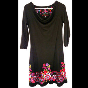 Johnny Was JW LA Cowl Neck Embroidered Dress Small